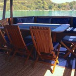 Perjuangan boat liveaboard diving cruise indonesia lunch and dinner area